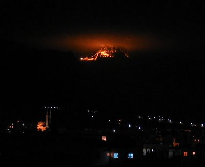 St Hilarion glowing in the dark, in North Cyprus