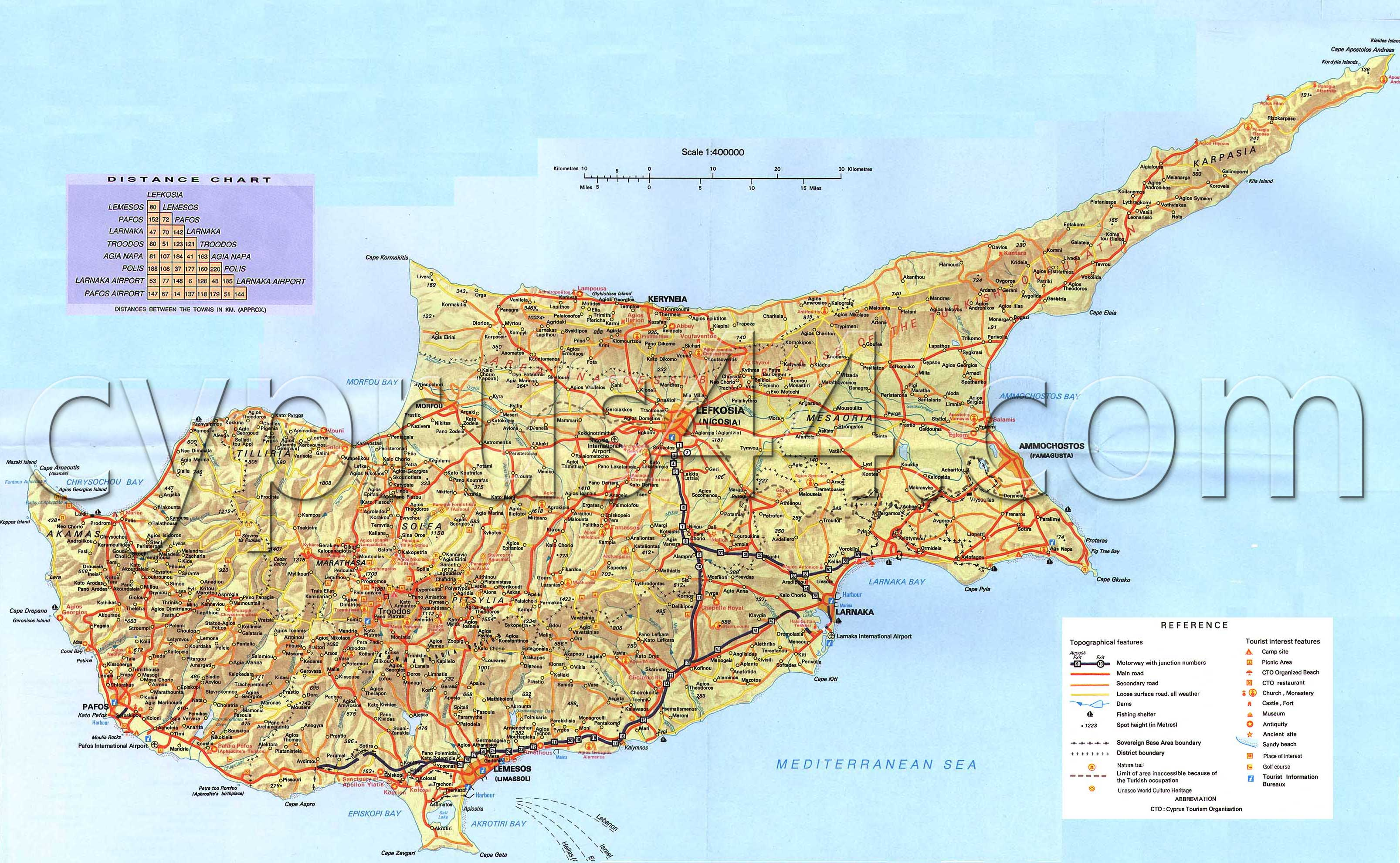 North cyprus map cyprus44 the north cyprus guide cyprus road map gumiabroncs Gallery